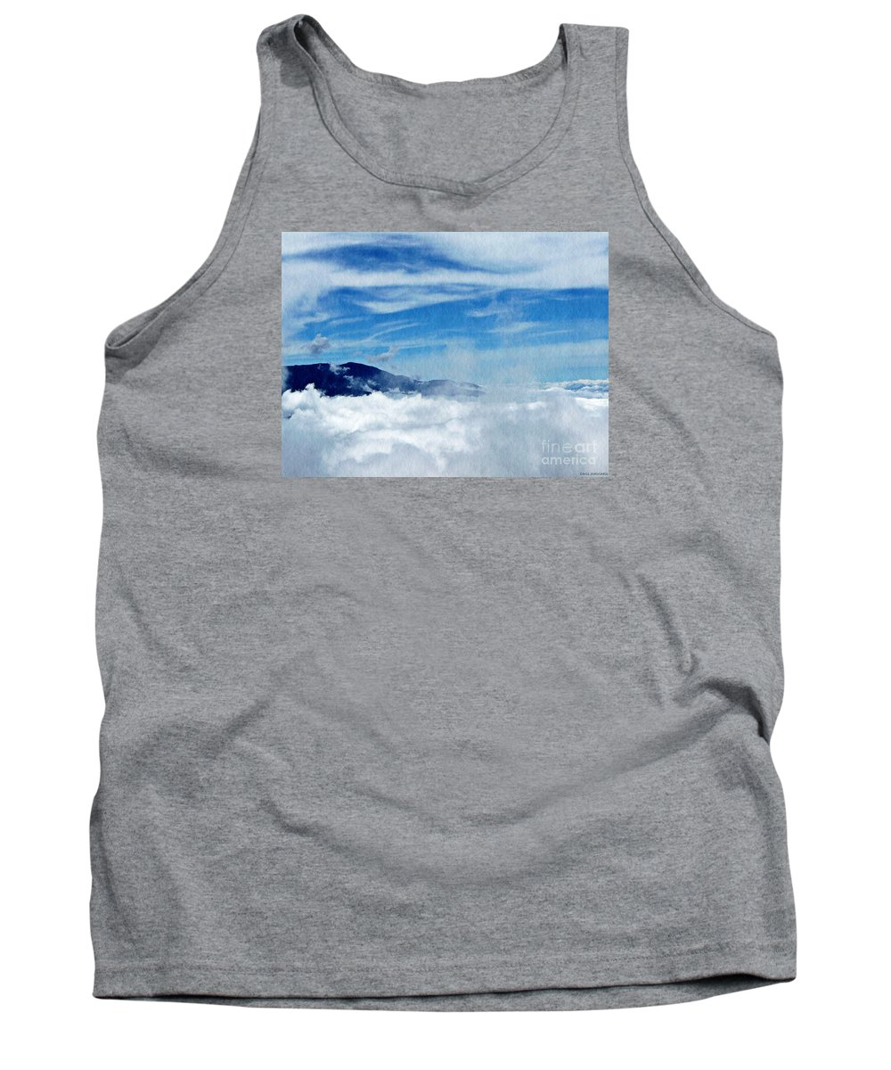 Mountain Tank Top featuring the photograph Island In The Clouds by Chris Sotiriadis