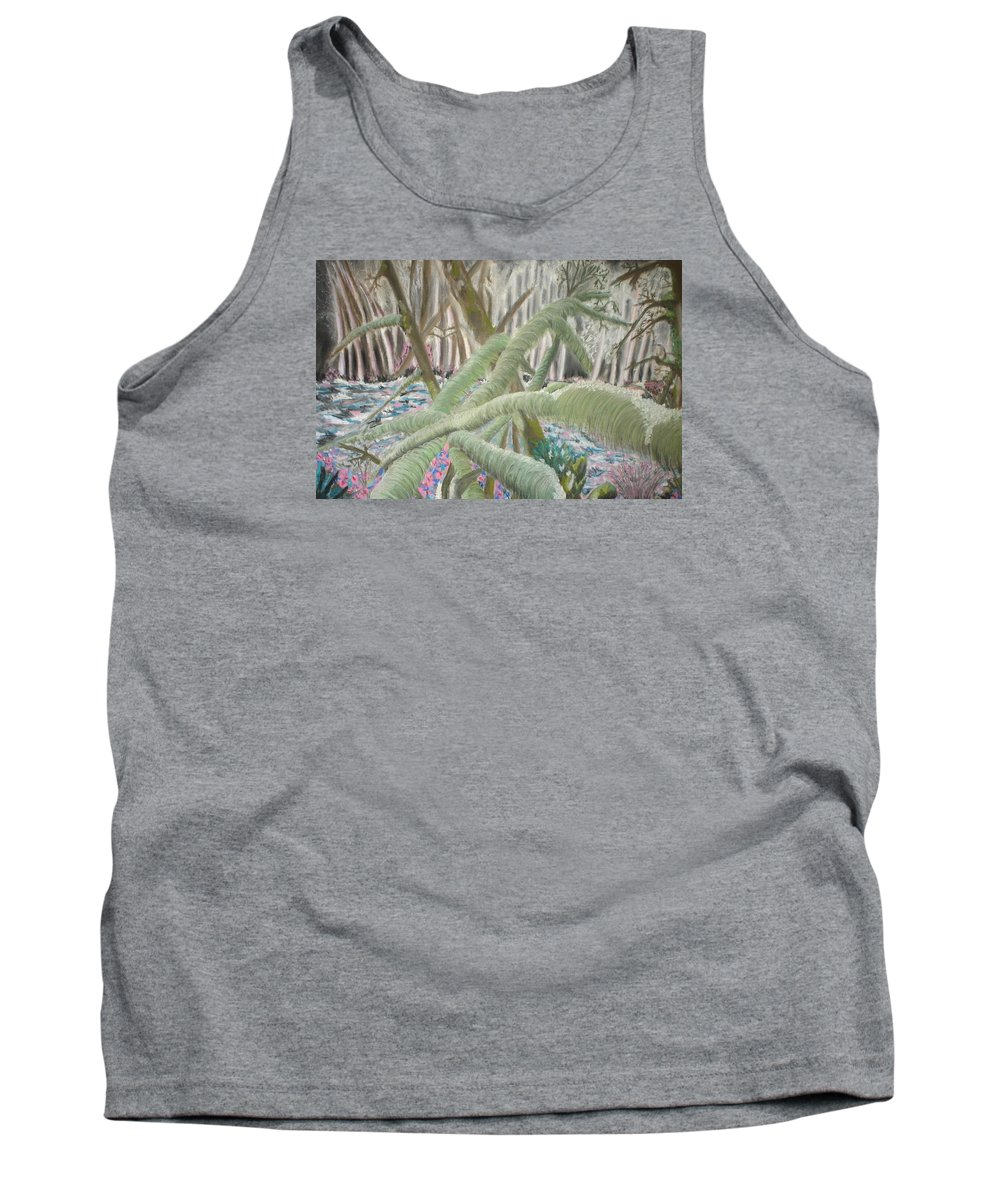 Landscape Tank Top featuring the pastel Issaquah Forest by Judy Gerstner