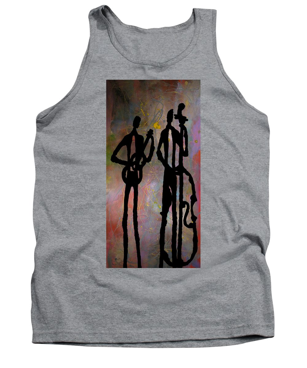 Jazz Tank Top featuring the painting Jazz Duet by Rhodes Rumsey