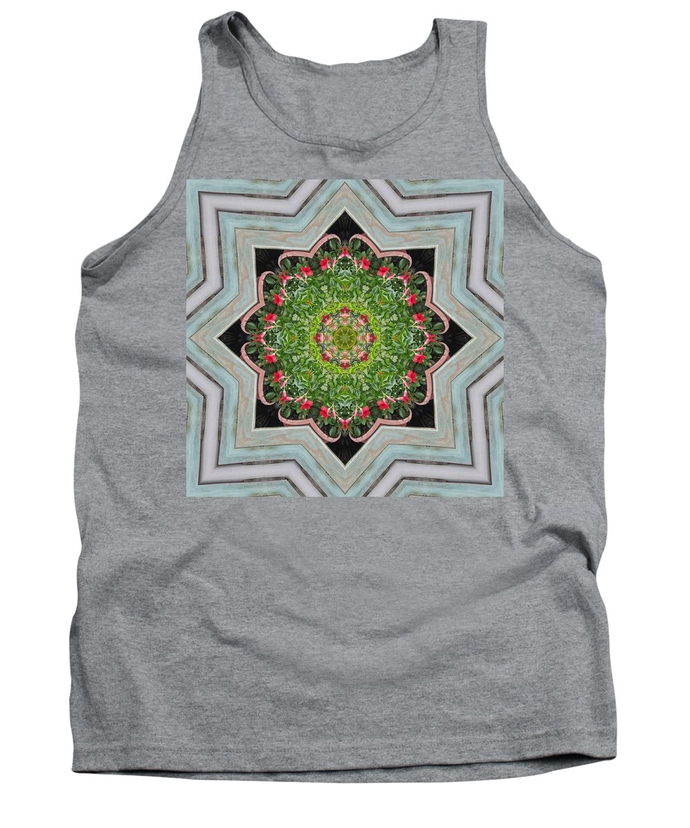 Mandevilla Sanderi Tank Top featuring the photograph Jubilant Mandevilla Kaleidoscope Pattern by Kathy Clark