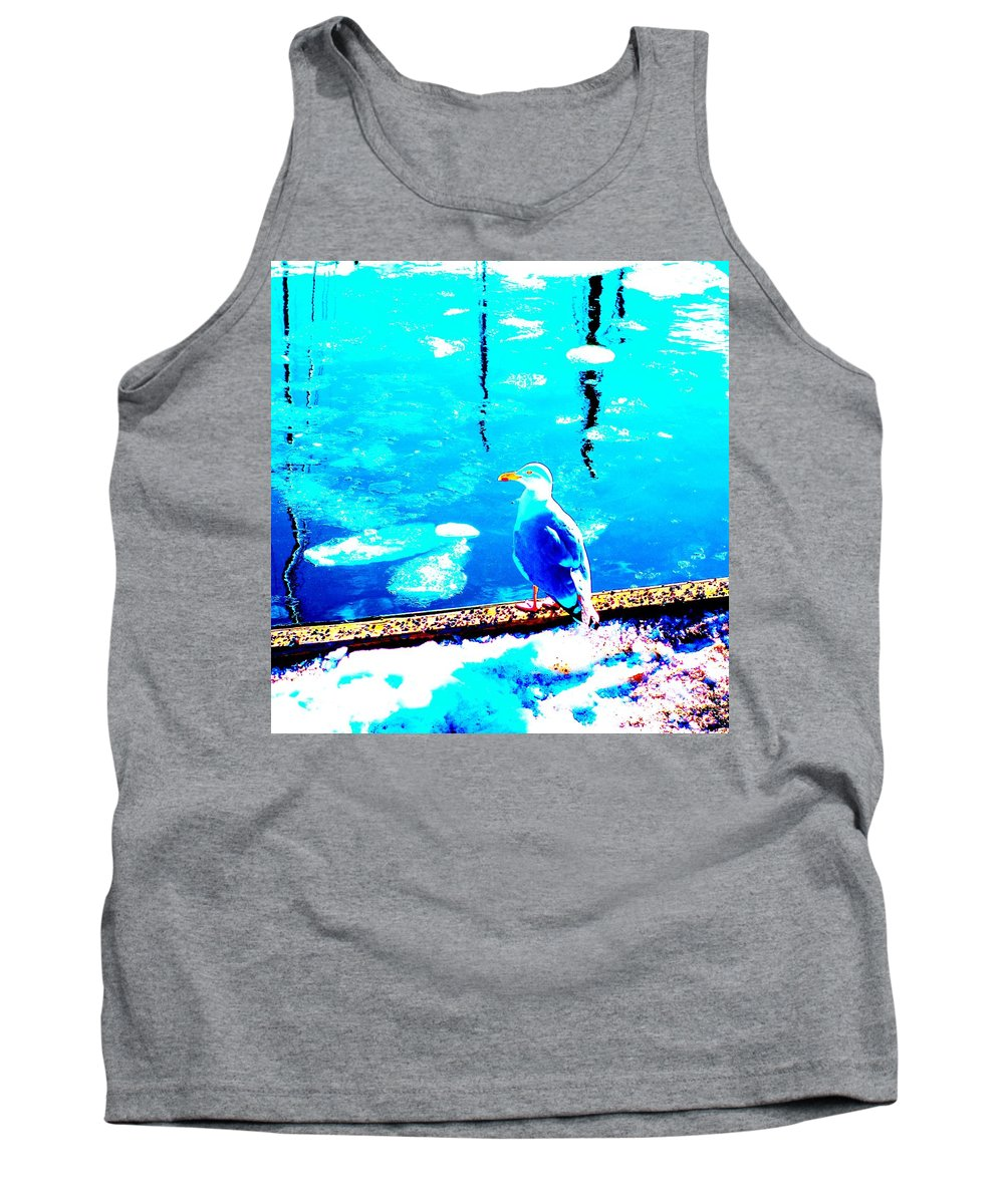 Seagull Tank Top featuring the photograph I'm Just Sitting Here, Waiting For The Spring To Come by Hilde Widerberg