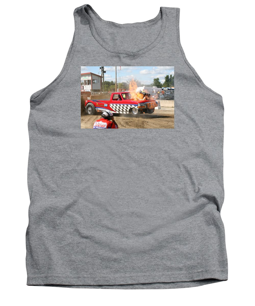 Lucas Truck Pulling Tank Top featuring the photograph Kaboom by Eric Swan