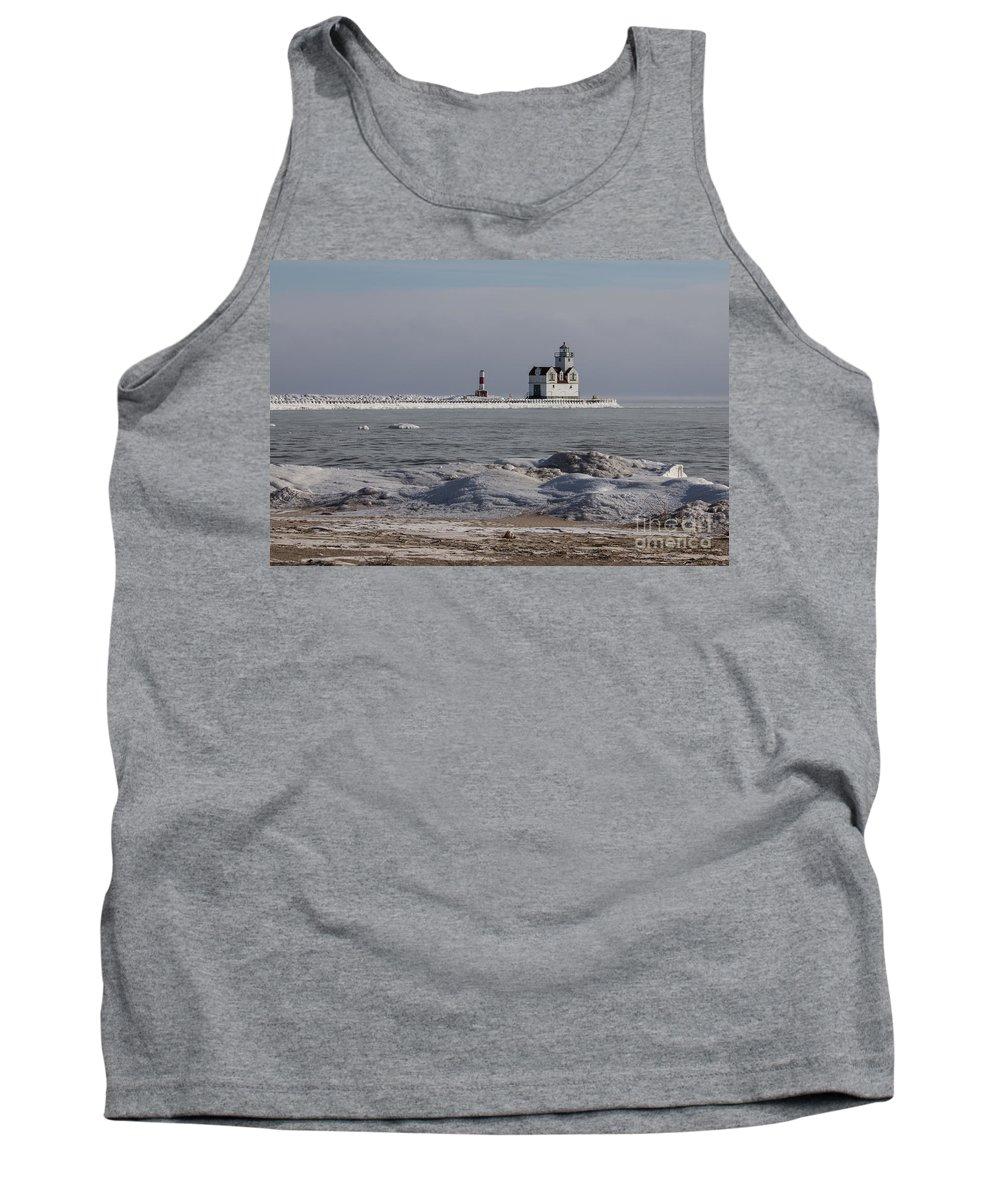 Kewaunee Tank Top featuring the photograph Kewaunee Lighthouse In Winter by Nikki Vig