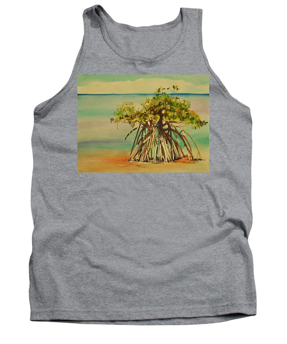 Mangrove Trees Tank Top featuring the painting Keys Mangrove by Terry Arroyo Mulrooney