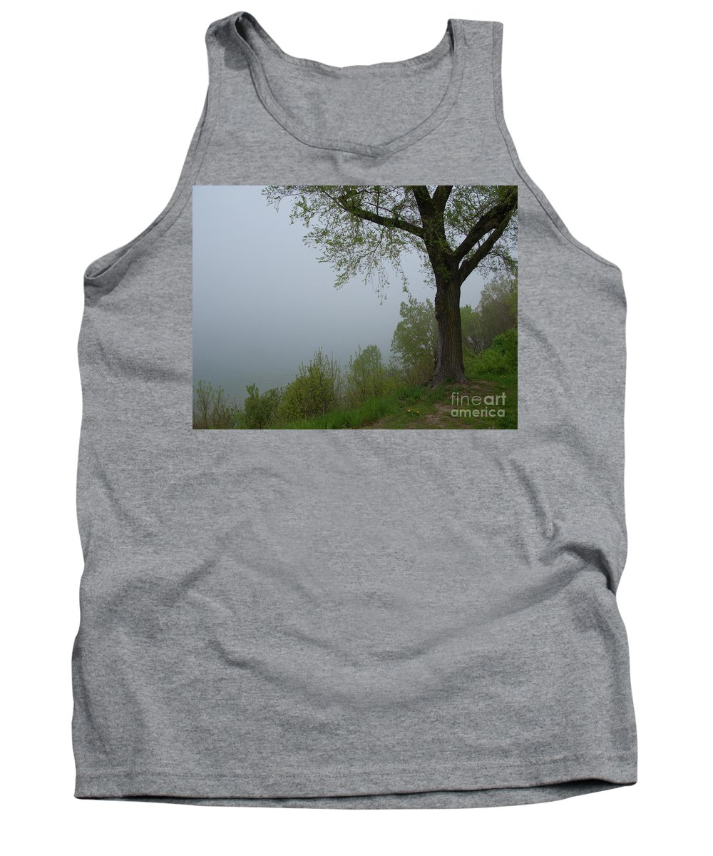 Fog Tank Top featuring the photograph Lake Michigan Obscured by Ann Horn