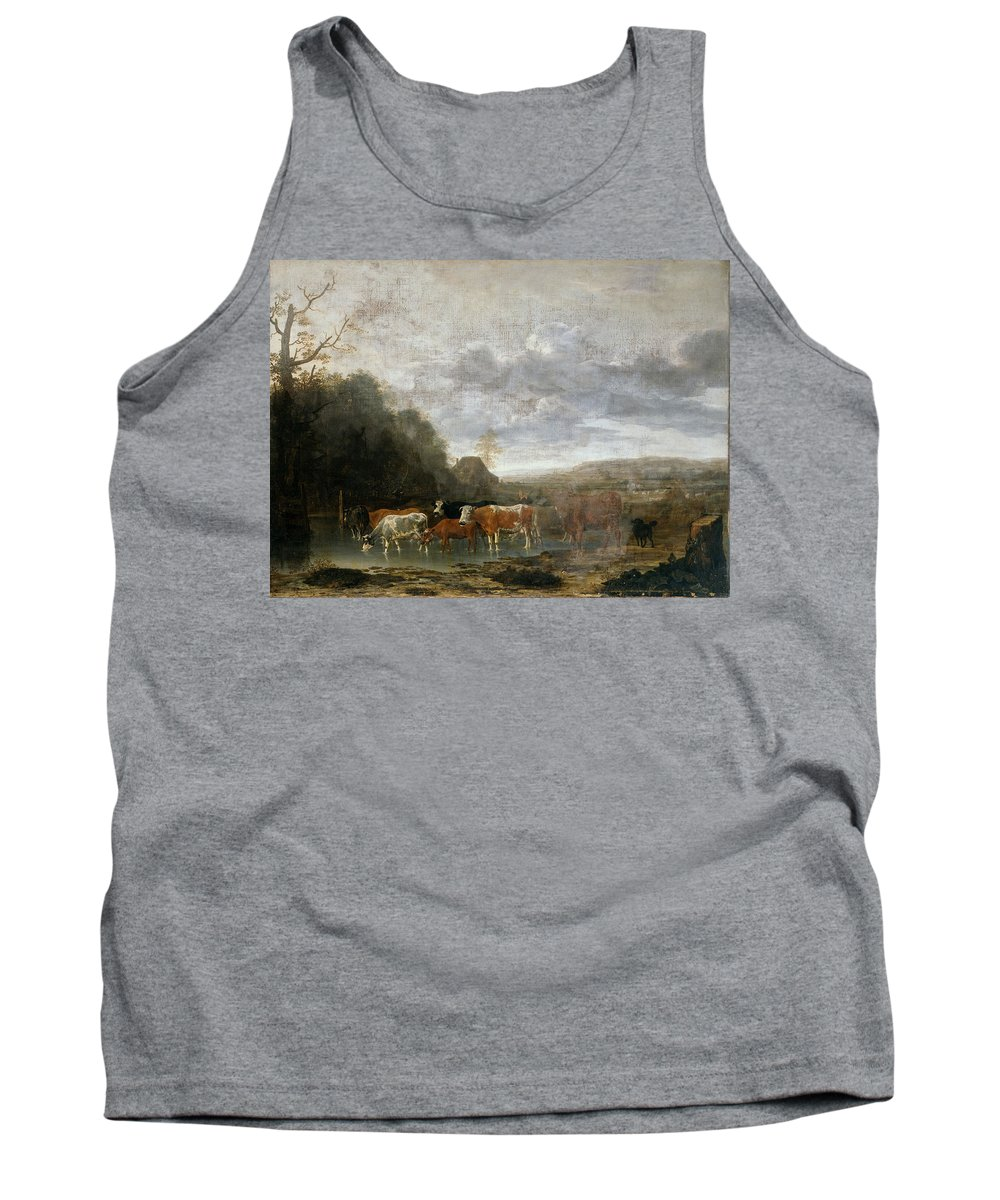 Anthonie Van Borssom Tank Top featuring the painting Landscape With Cattle by Anthonie van Borssom