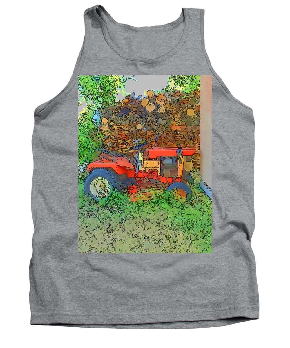 Lawn Tractor Tank Top featuring the photograph Lawn Tractor And Wood Pile by Cathy Anderson