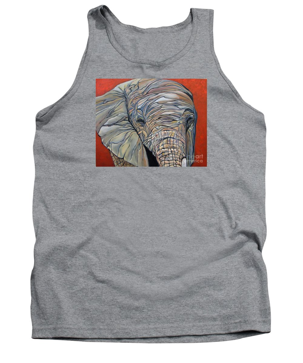 Elephant Tank Top featuring the painting Lazy Boy by Aimee Vance