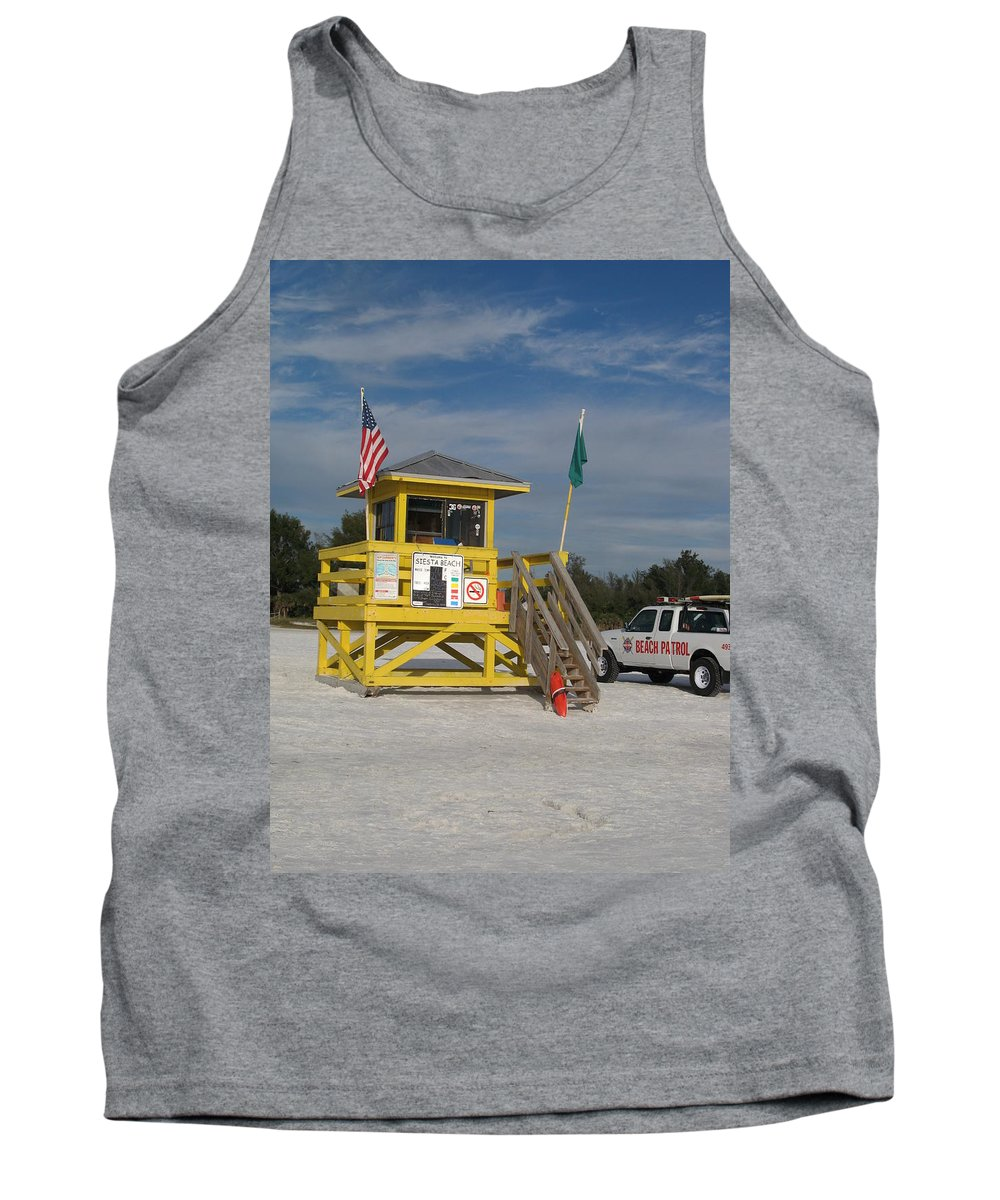 Beach Tank Top featuring the photograph Lifeguard And Beachpatrol by Christiane Schulze Art And Photography