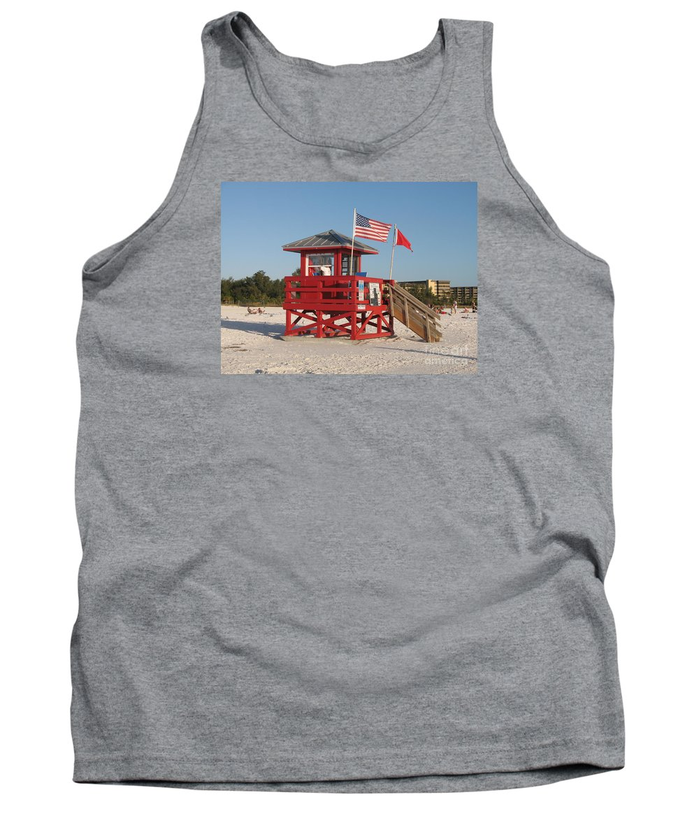 Beach Tank Top featuring the photograph Lifeguard Siesta Beach by Christiane Schulze Art And Photography