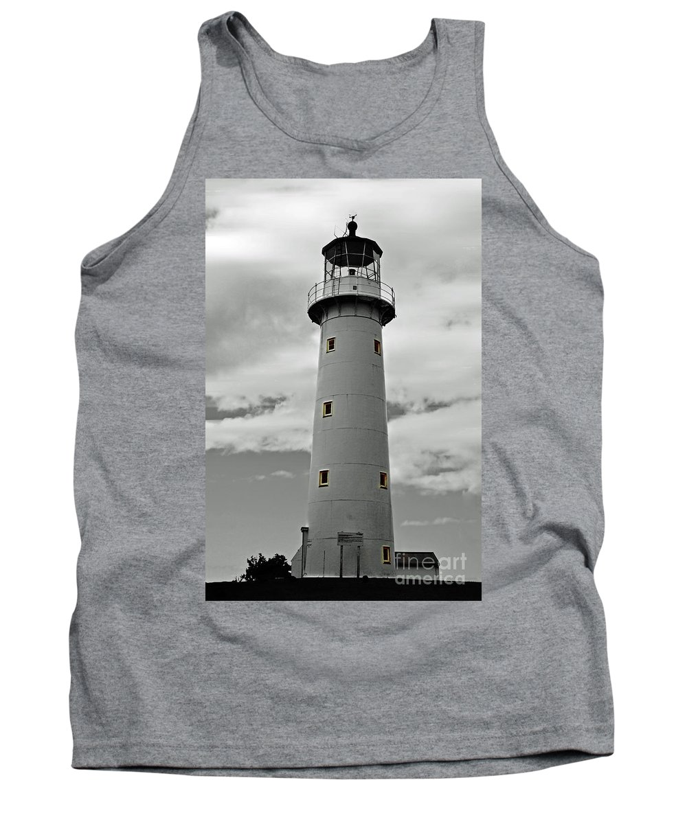 Lighthouse Tank Top featuring the photograph Lighthouse Bnw Auckland by Ben Yassa