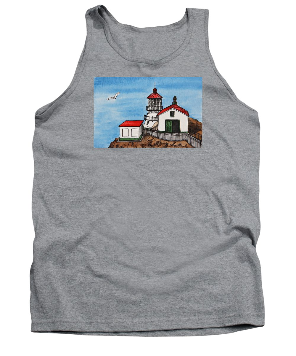 Lighthouse Tank Top featuring the painting Lighthouse by Masha Batkova
