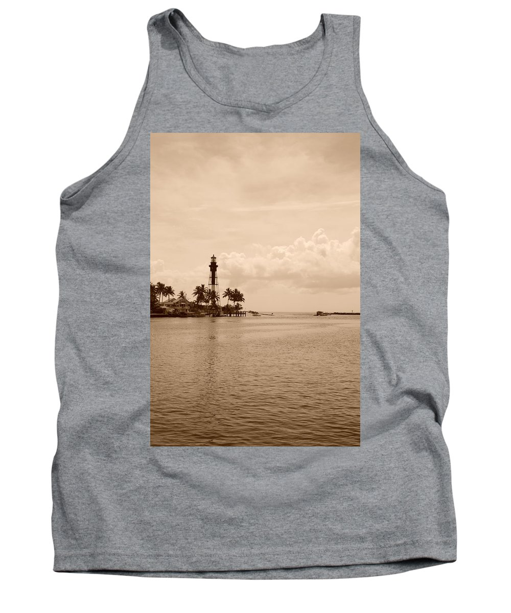 Sepia Tank Top featuring the photograph Lighthouse Point by Rob Hans