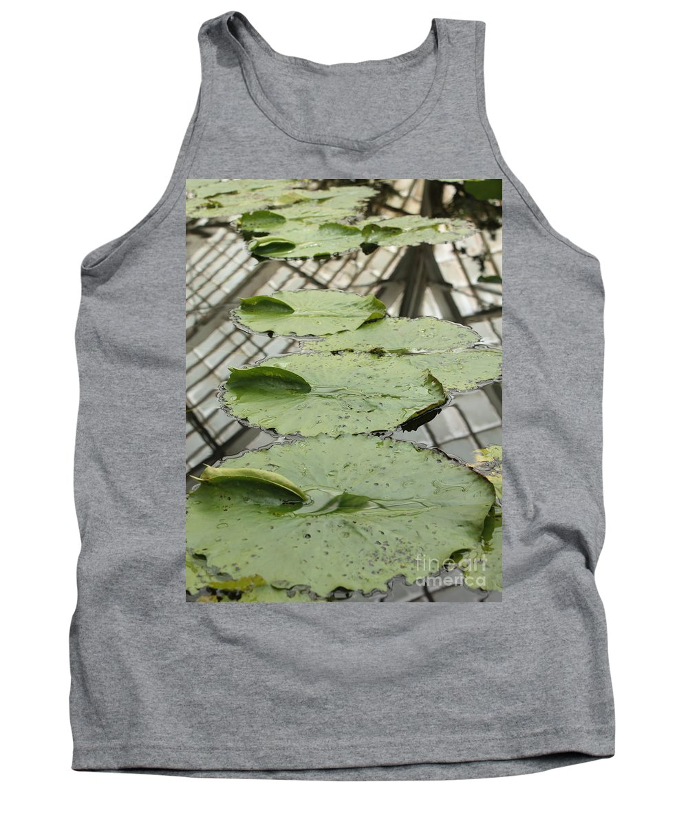 Lily Pads Tank Top featuring the photograph Lily Pads With Reflection Of Conservatory Roof by Carol Groenen