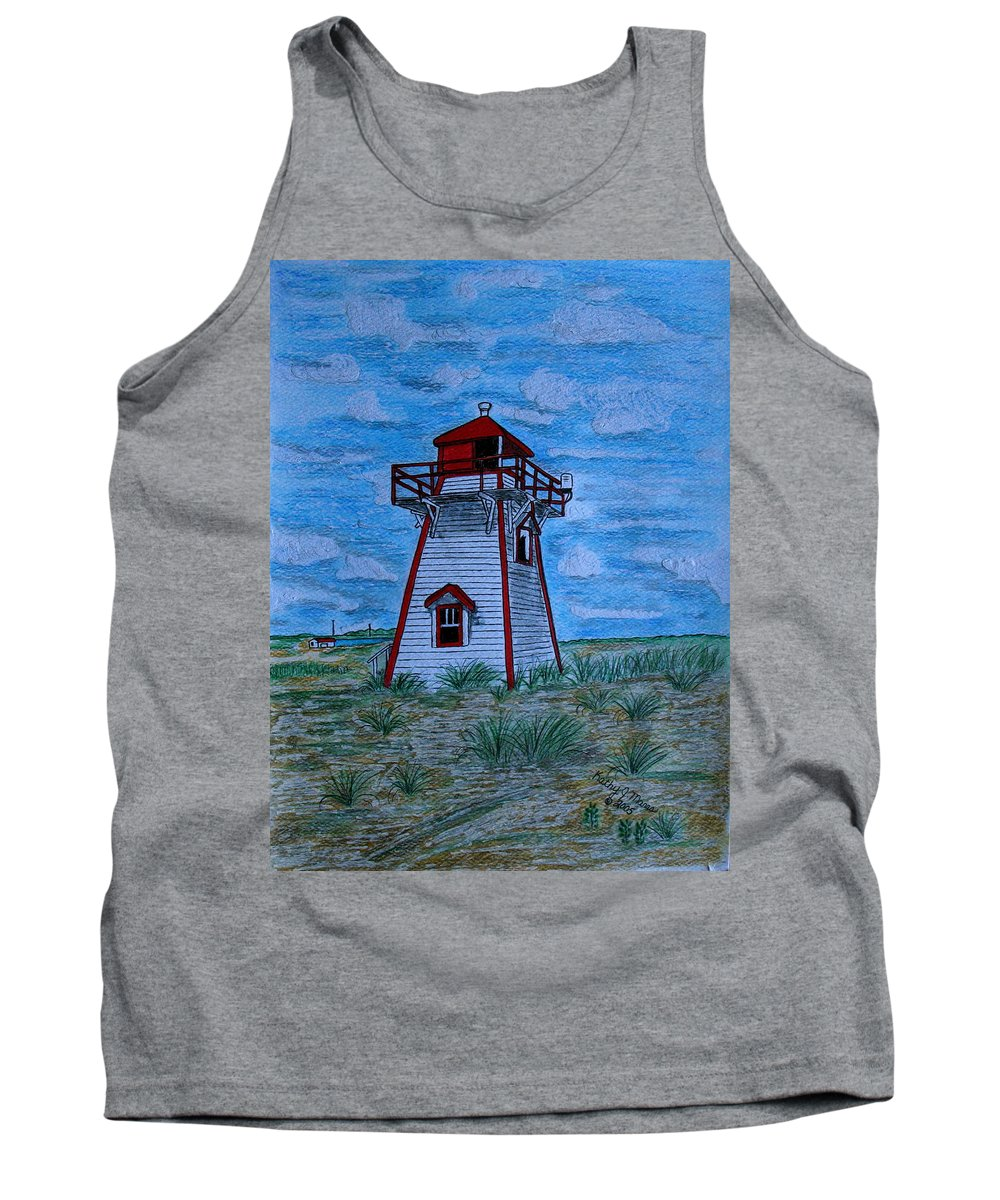 Red Tank Top featuring the painting Little Red And White Lighthouse by Kathy Marrs Chandler