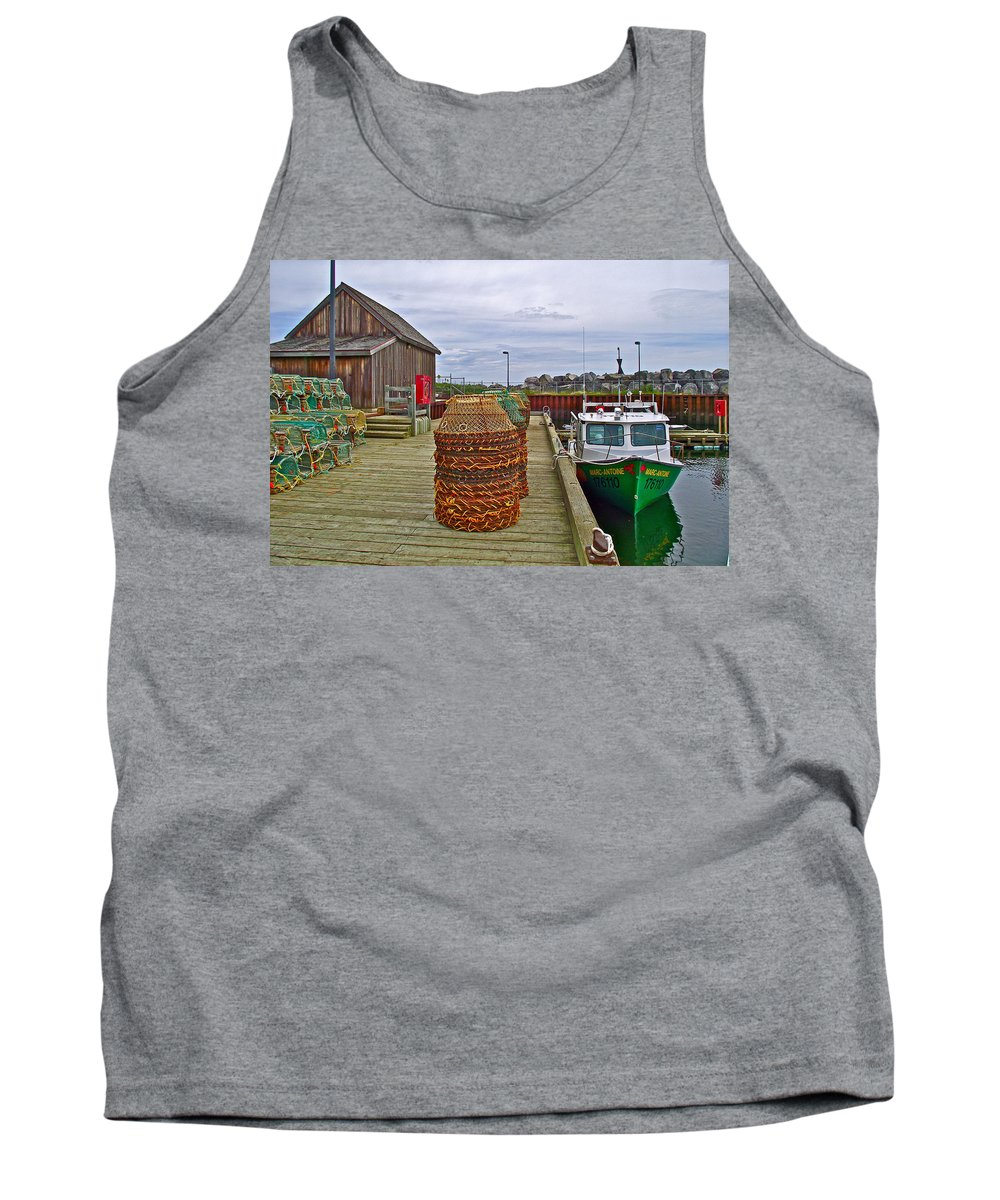 Lobster Fishing Baskets And Boats In Forillon Np Tank Top featuring the photograph Lobster Fishing Baskets And Boats By A Dock In Forillon Np-qc by Ruth Hager