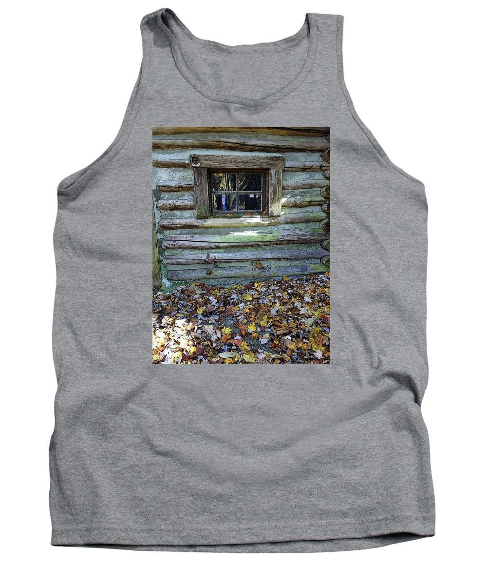 Log Cabin Tank Top featuring the photograph Log Cabin Window And Fall Leaves by Rebecca Korpita