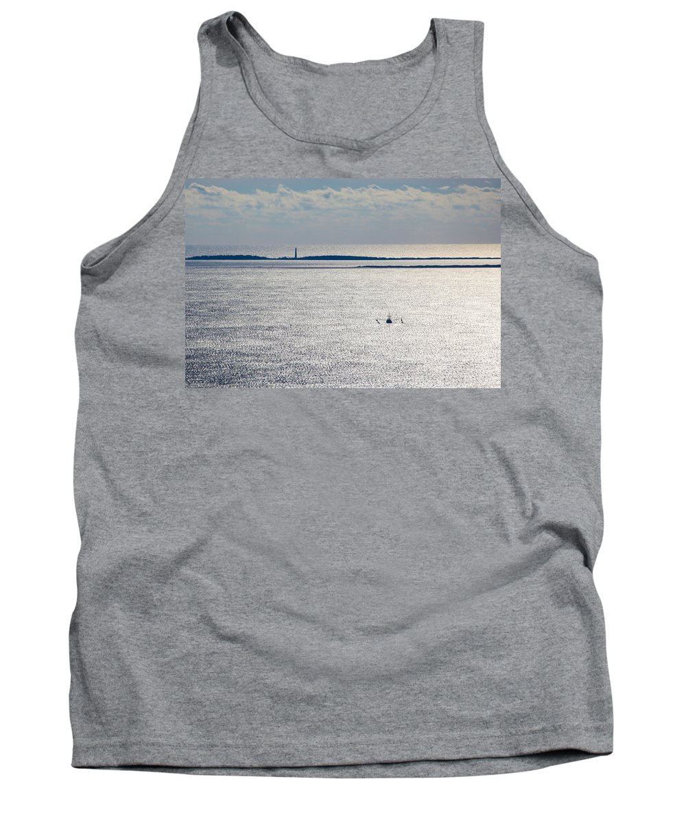 Cape Lookout Light House Tank Top featuring the photograph Lone Shrimper by Paula OMalley