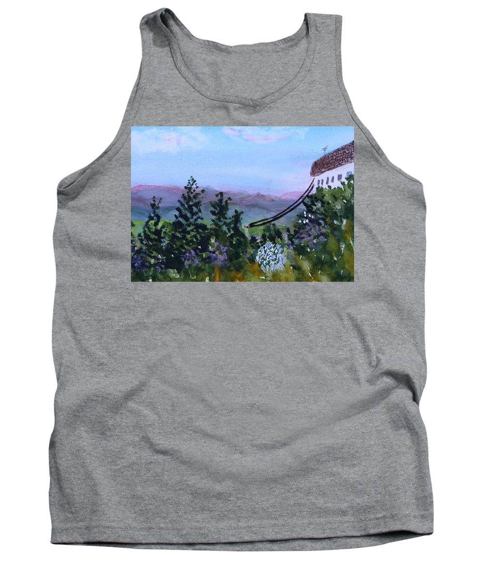 Mountain Tank Top featuring the painting Looking Out From Top Of Jay Peak by Donna Walsh