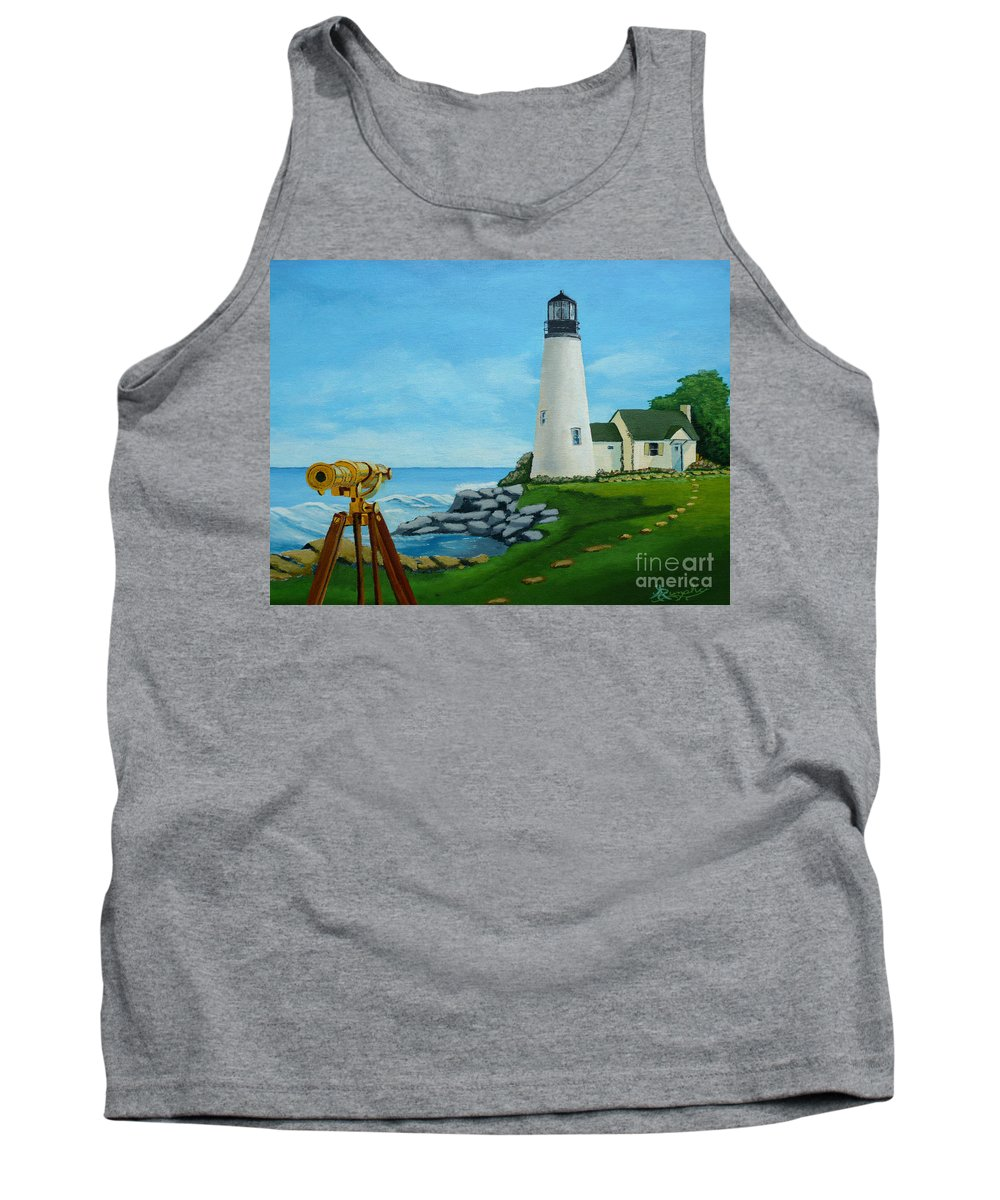 Lighthouse Tank Top featuring the painting Looking Out To Sea by Anthony Dunphy