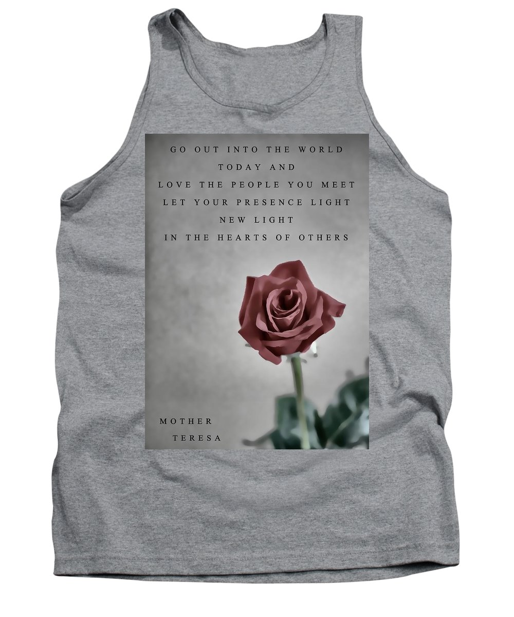 Love Mother Teresa Tank Top featuring the mixed media Love Mother Teresa by Dan Sproul