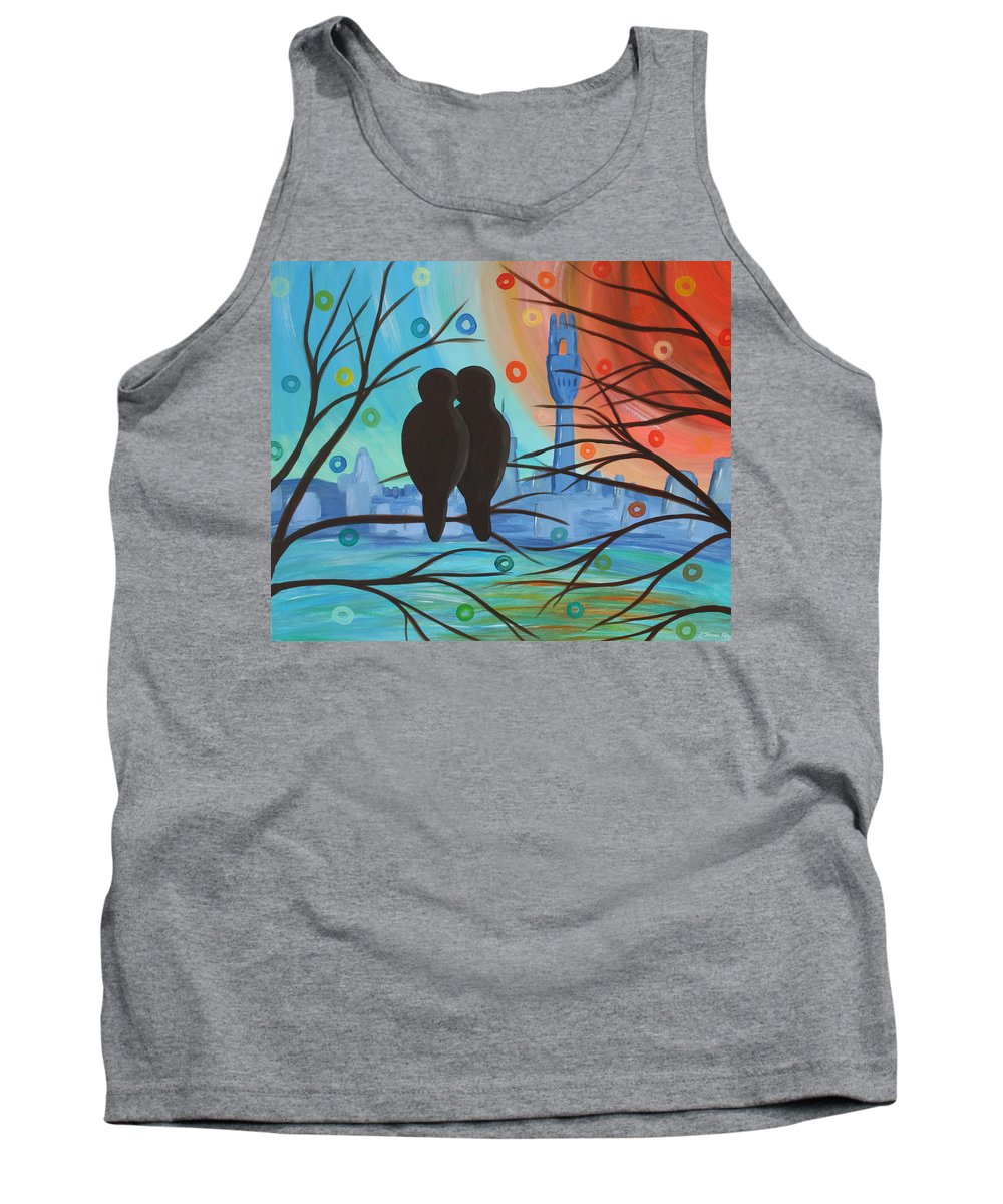 Lovebirds Tank Top featuring the mixed media Lovebirds In P-town by Catherine Harms