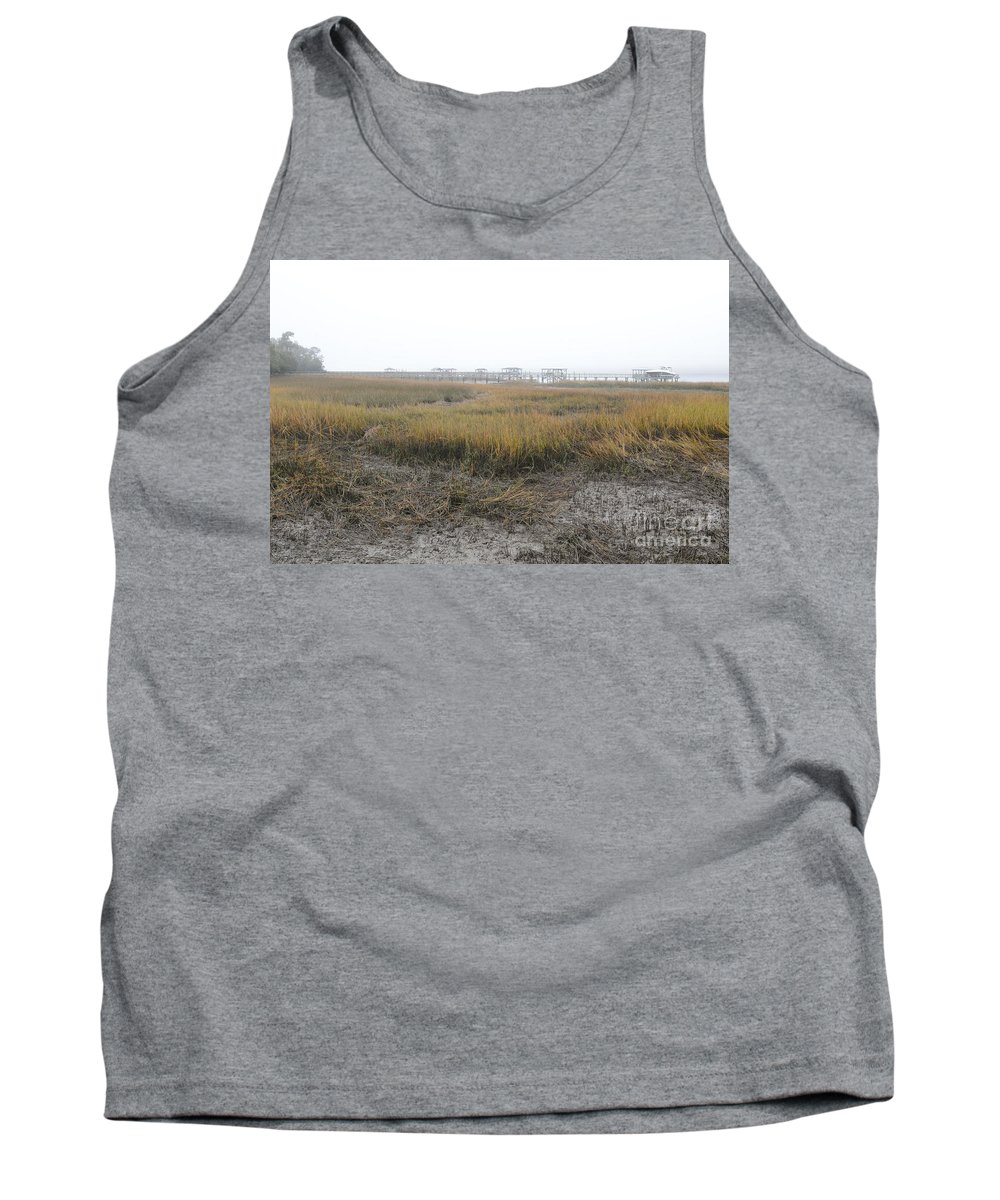 Fog Tank Top featuring the photograph Low Tide Fog by Dale Powell