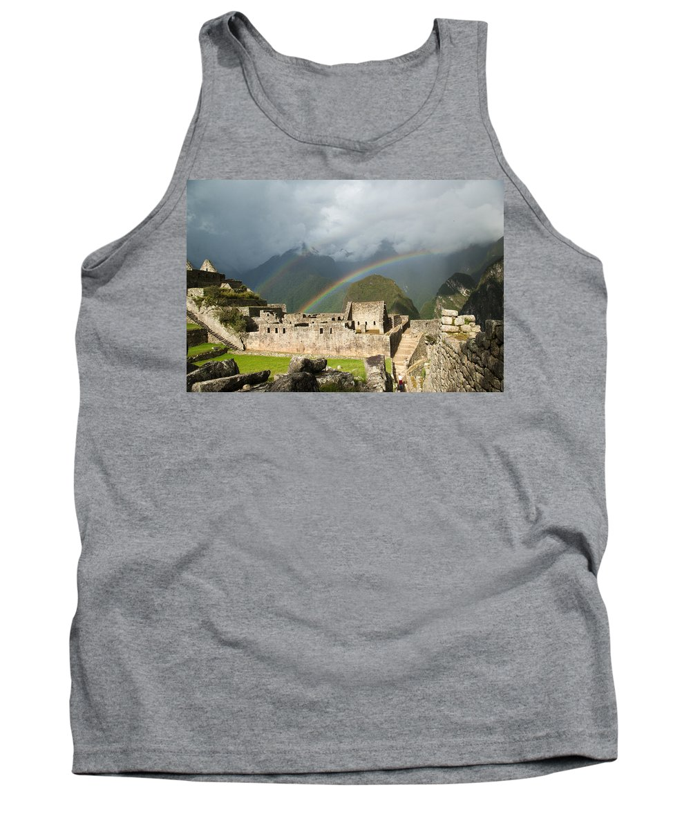 Ancient Tank Top featuring the photograph Machu Picchu by Emily Riddell