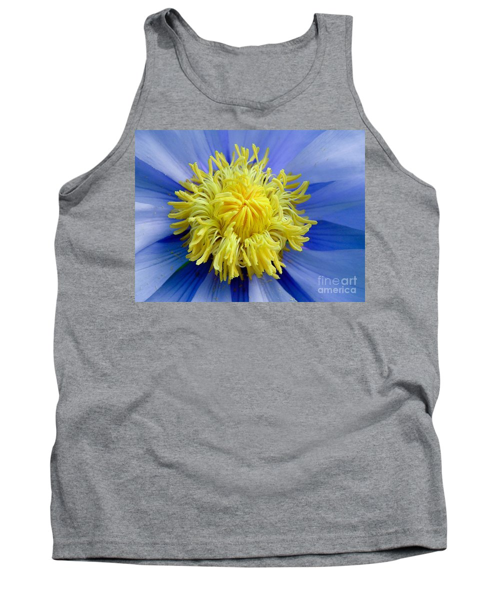 Waterlily Tank Top featuring the photograph Macro Photograph Of Blue Waterlily by Kerstin Ivarsson