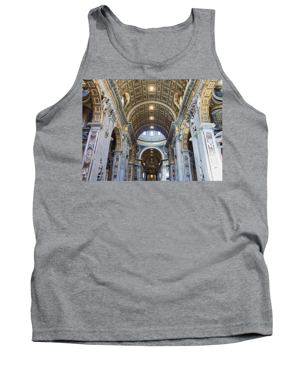 Madernos Nave Ceiling Tank Top featuring the photograph Maderno's Nave Ceiling by Ellen Henneke