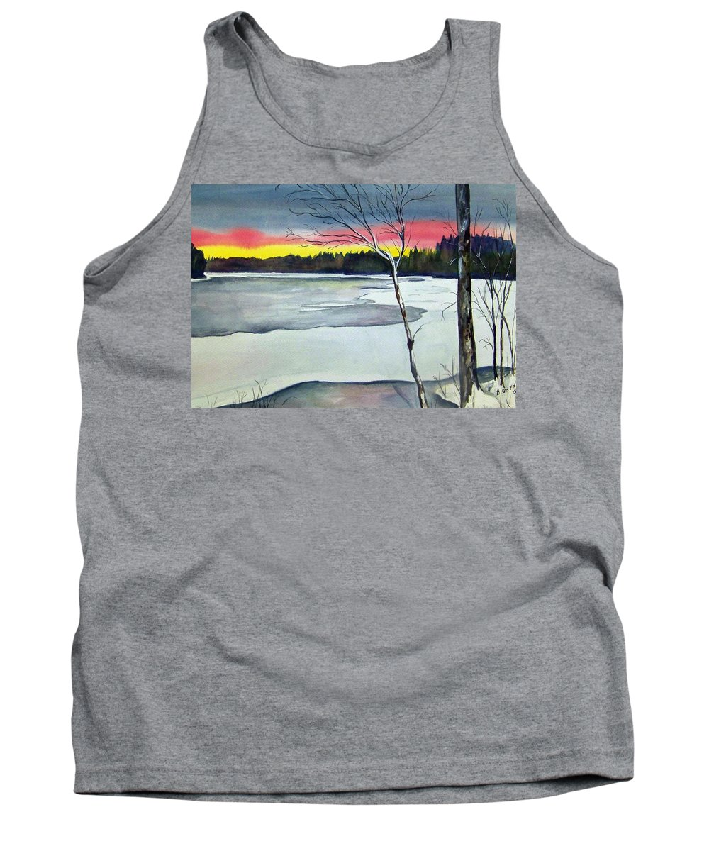 Landscape Tank Top featuring the painting Maine Winter Sunset by Brenda Owen