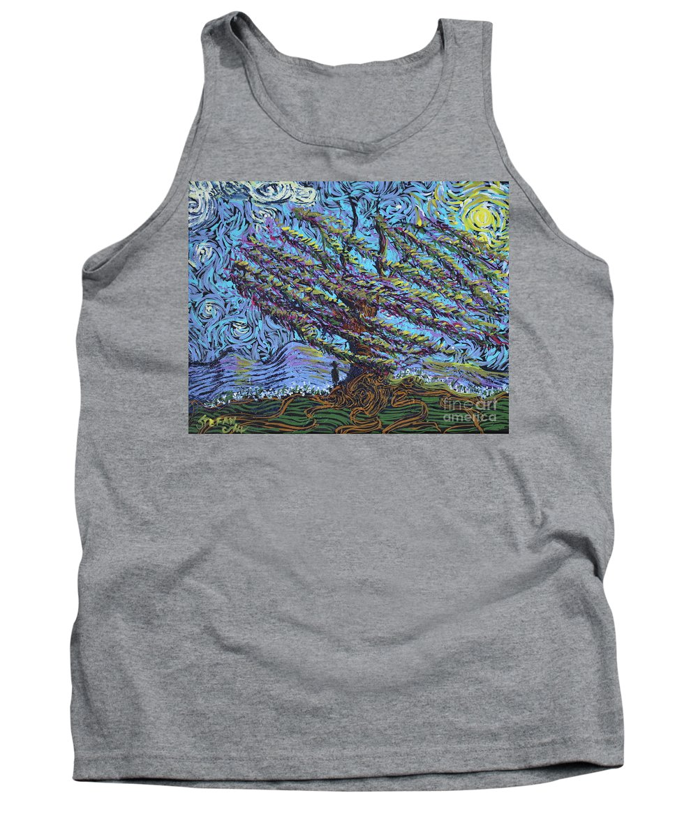 Landscape Tank Top featuring the painting Man Beneath The Willow by Stefan Duncan
