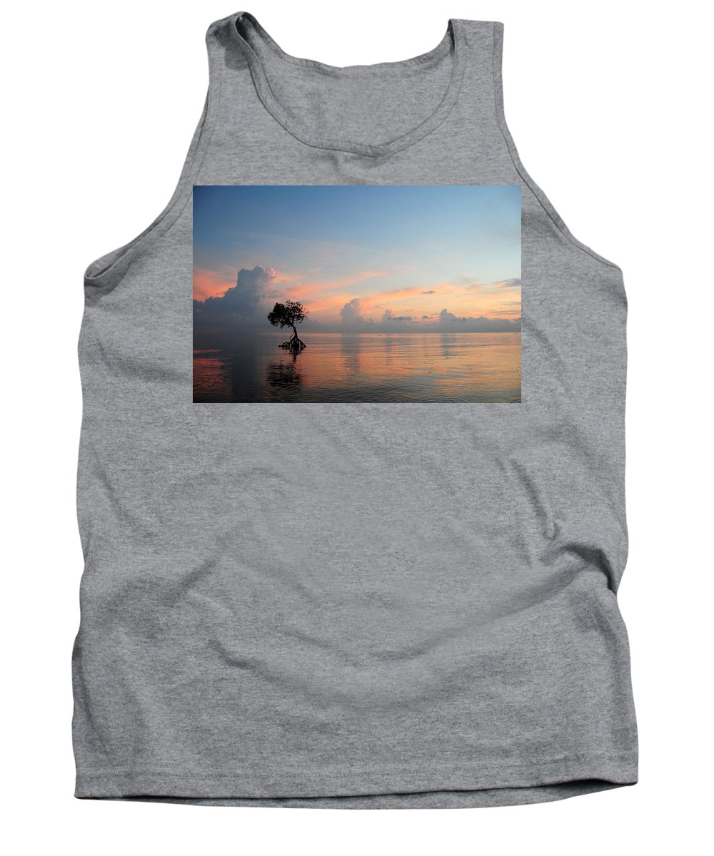 Blue Tank Top featuring the photograph Mangrove Tree In Water At Sunrise by Cindy Pichette
