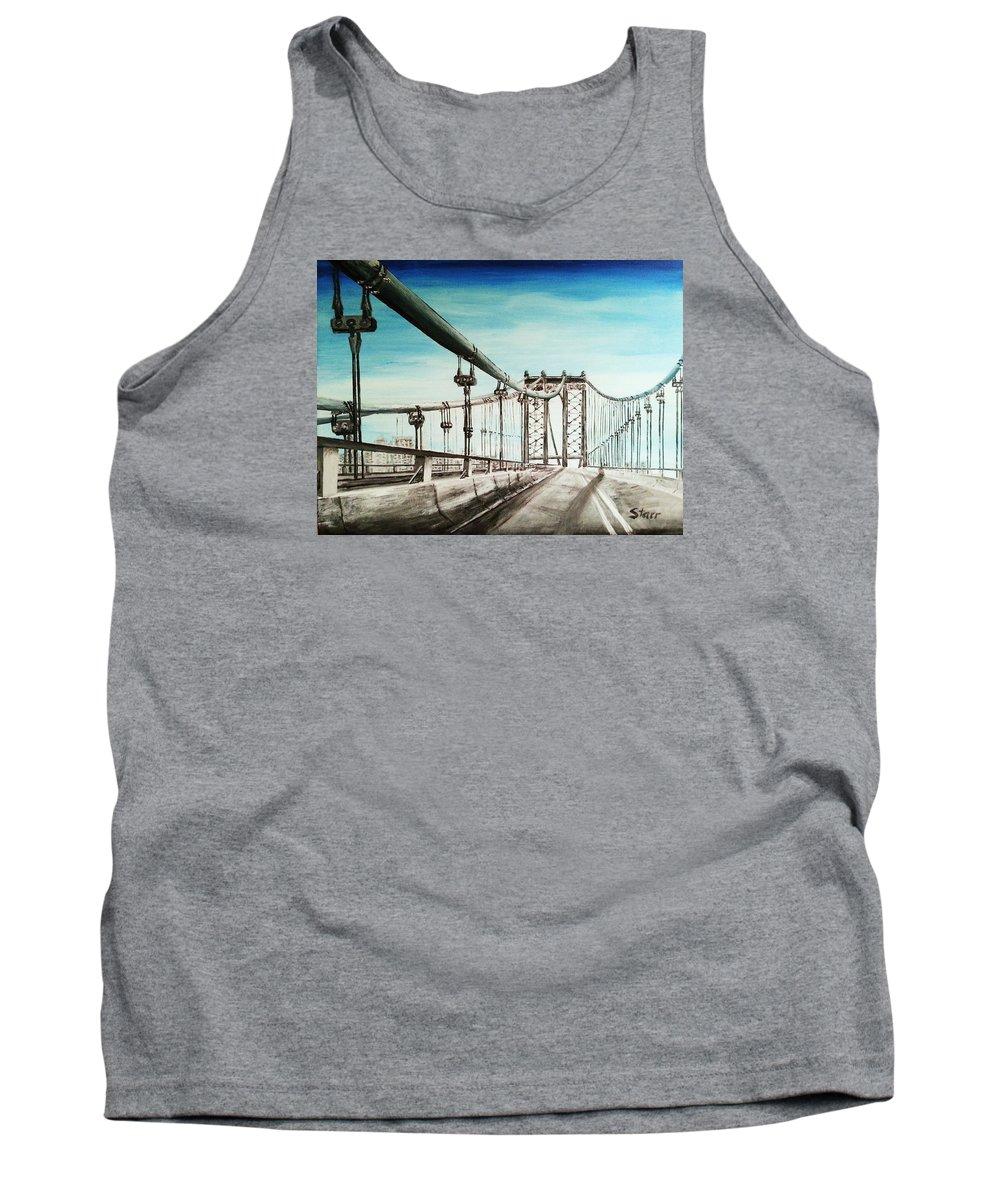 Manhattan Tank Top featuring the painting Manhattan Bridge by Irving Starr