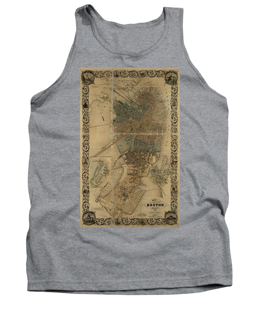 Boston Tank Top featuring the photograph Map Of Boston 1852 by Andrew Fare
