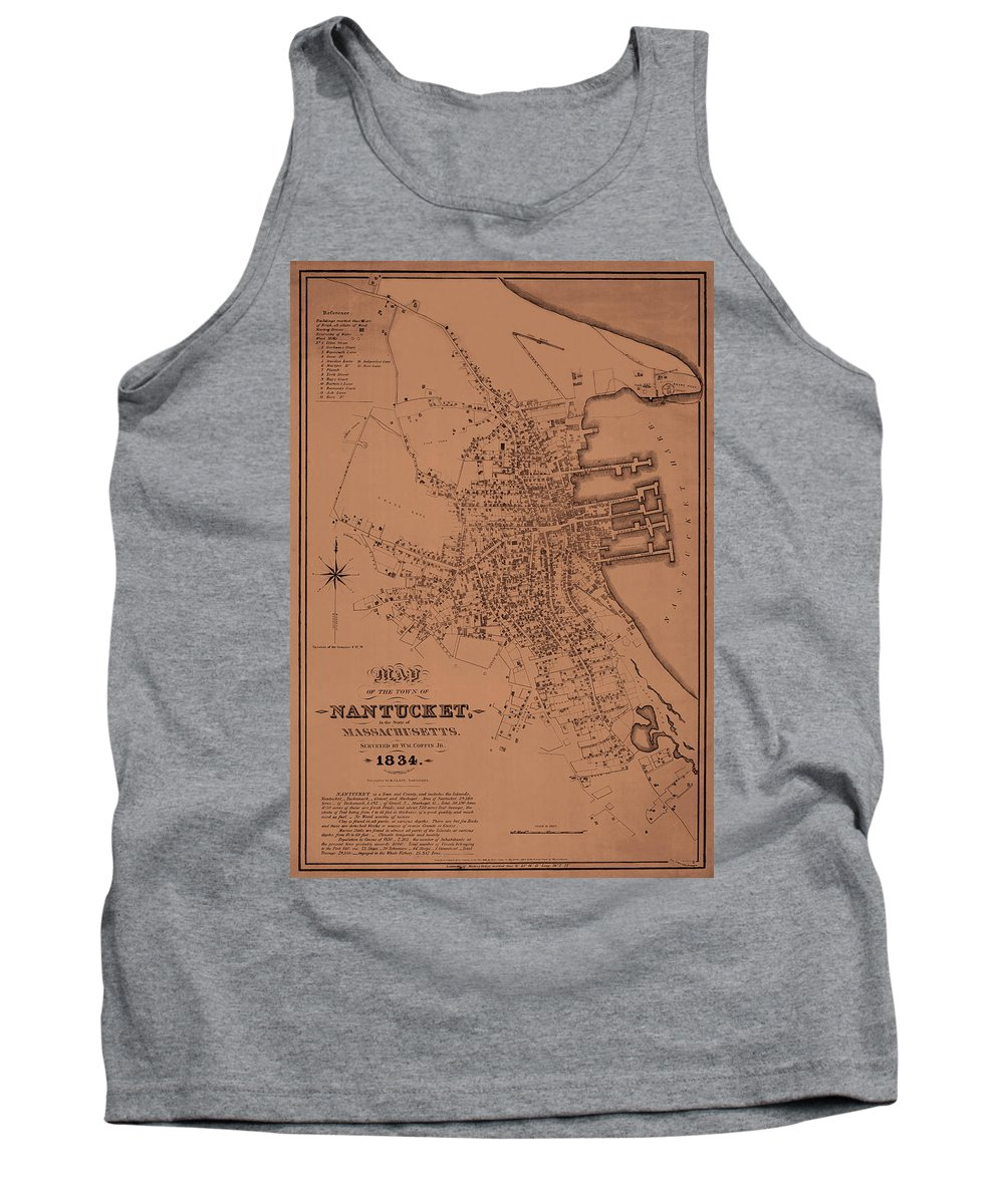 Nantucket Tank Top featuring the photograph Map Of Nantucket 1834 by Andrew Fare
