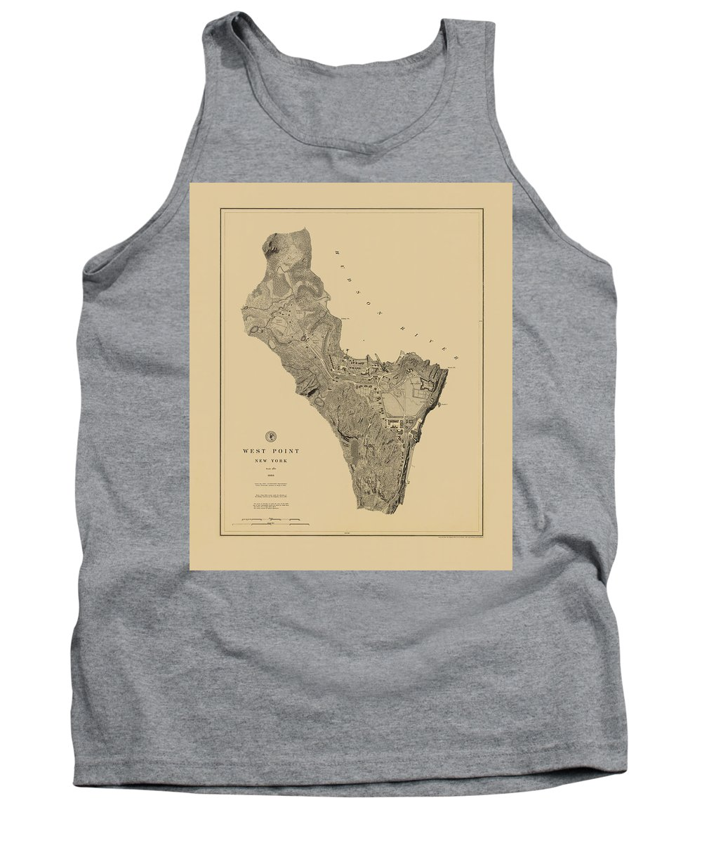 West Point Tank Top featuring the photograph Map Of West Point 1883 by Andrew Fare