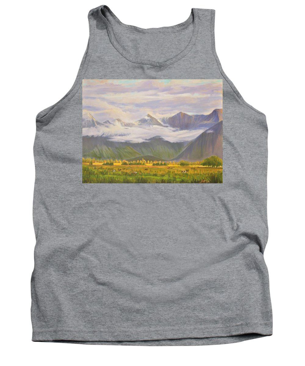 Landscape Tank Top featuring the painting Matukituki Valley by Yinguo Huang