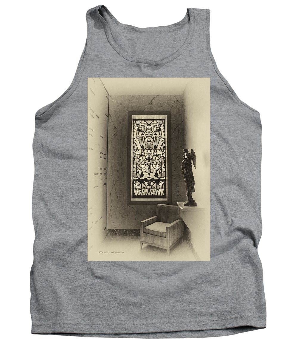 Glass Art Tank Top featuring the photograph Mausoleum Stained Glass 02 by Thomas Woolworth