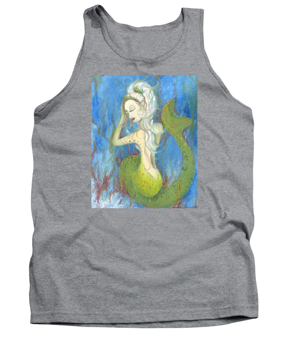 Mermaid Tank Top featuring the painting Mazzy The Mermaid Princess by Stephanie Broker
