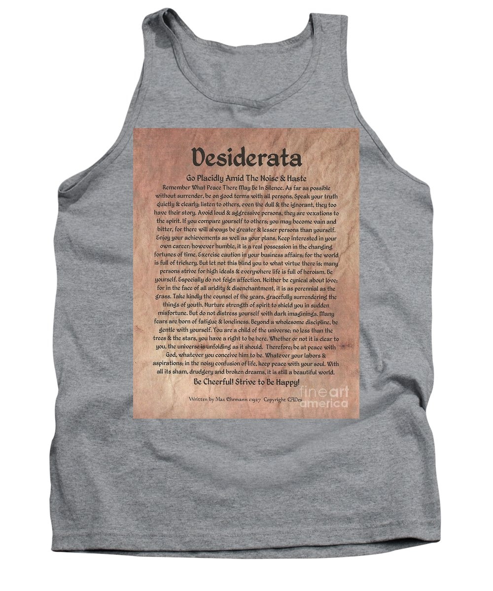 Desiderata Tank Top featuring the mixed media Medieval Desiderata On Mars Stone by Desiderata Gallery