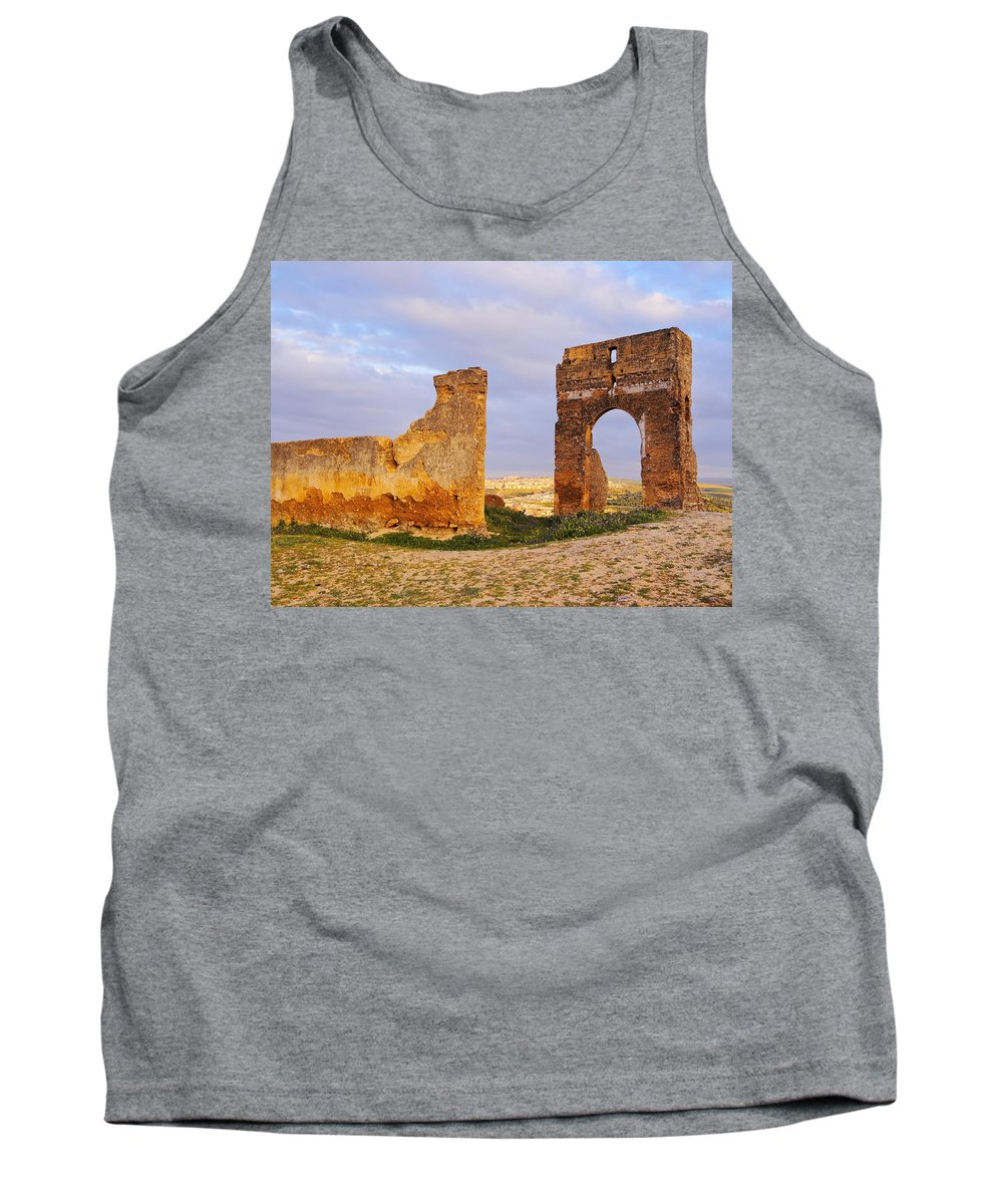Africa Tank Top featuring the photograph Merinid Tombs Ruins In Fes In Morocco by Karol Kozlowski