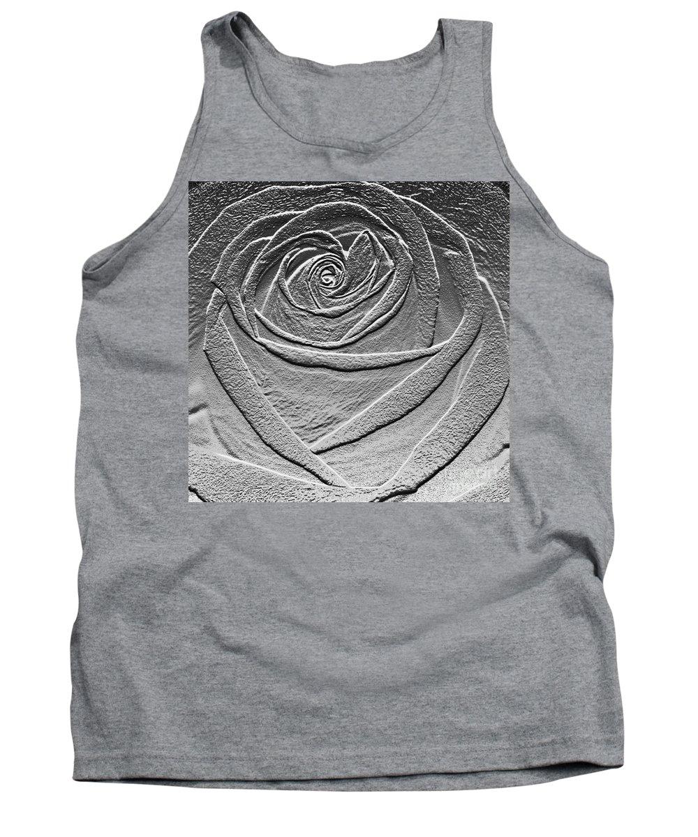 Rose Tank Top featuring the digital art Metal Rose by Carol Lynch