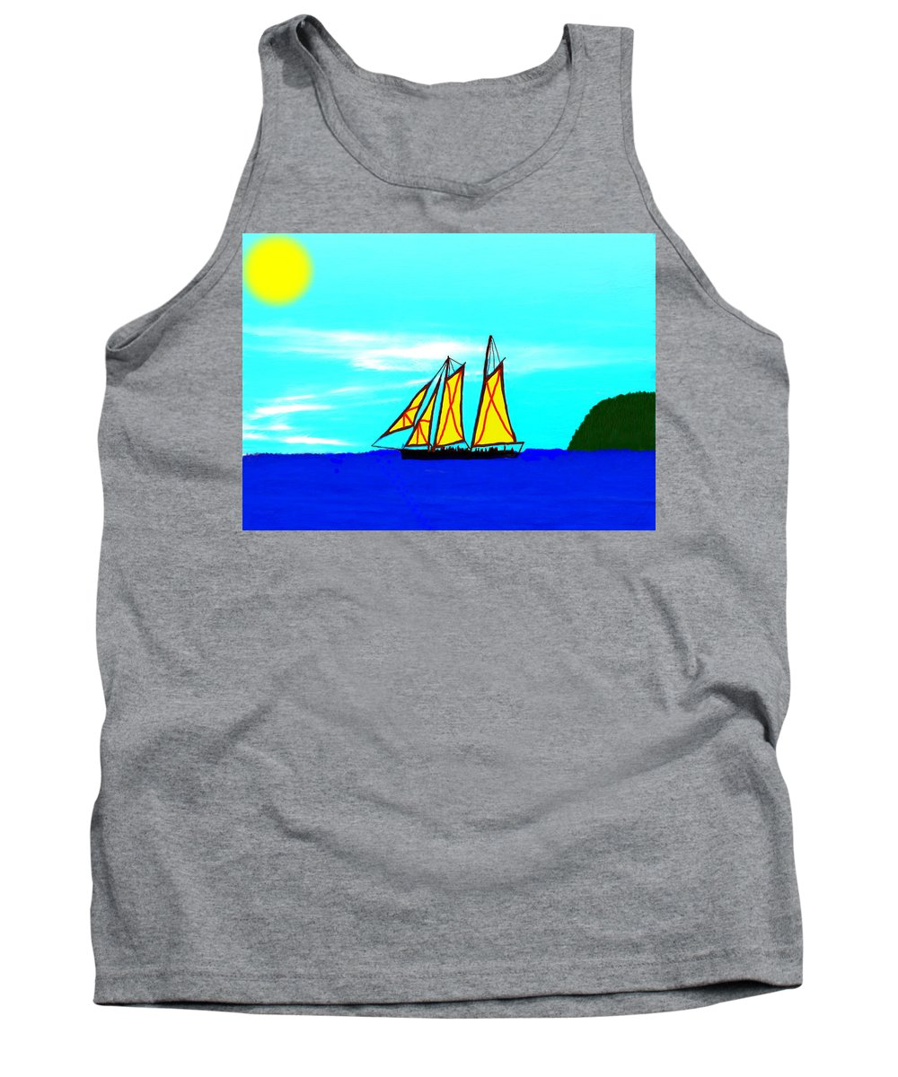 Ocean Tank Top featuring the painting Midday Sailing by Bruce Nutting