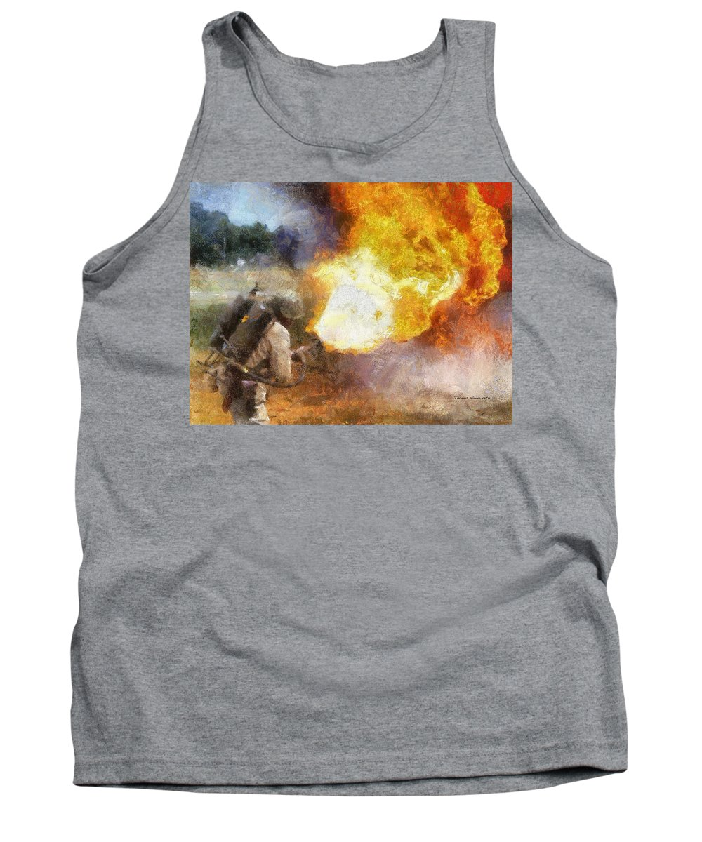 Usmc Tank Top featuring the photograph Military Flame Thrower Photo Art 01 by Thomas Woolworth