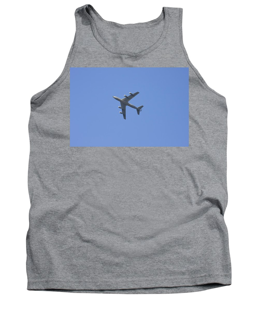 Military Tank Top featuring the photograph Military Tanker Airplane Flying In Blue Sky by Keith Webber Jr