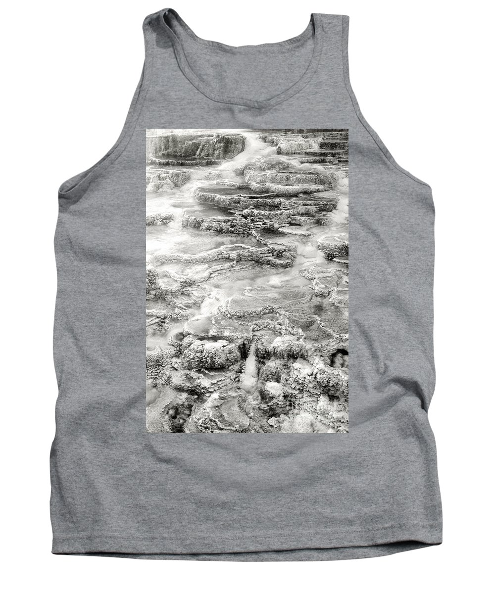 America Tank Top featuring the photograph Minerva Springs In Black And White Yellowstone National Park Wyoming by Dave Welling
