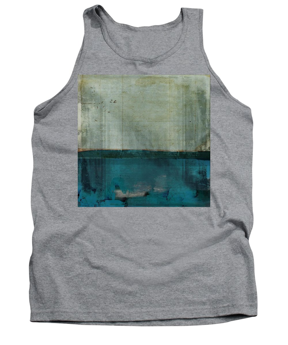 Blue Tank Top featuring the painting Minima - S02b Turquoise by Variance Collections
