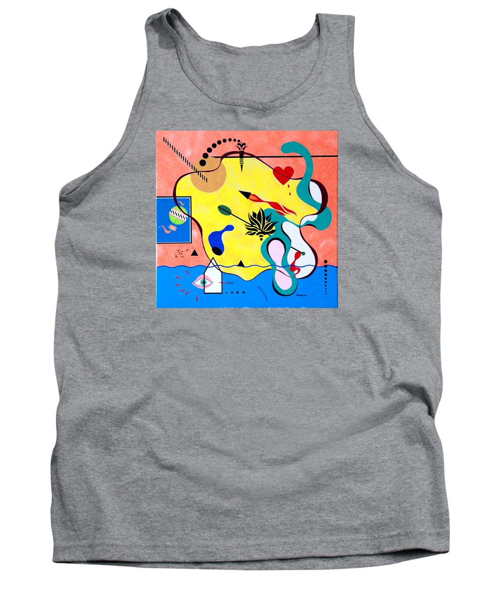 Bright Colors Tank Top featuring the painting Miro Miro On The Wall by Thomas Gronowski