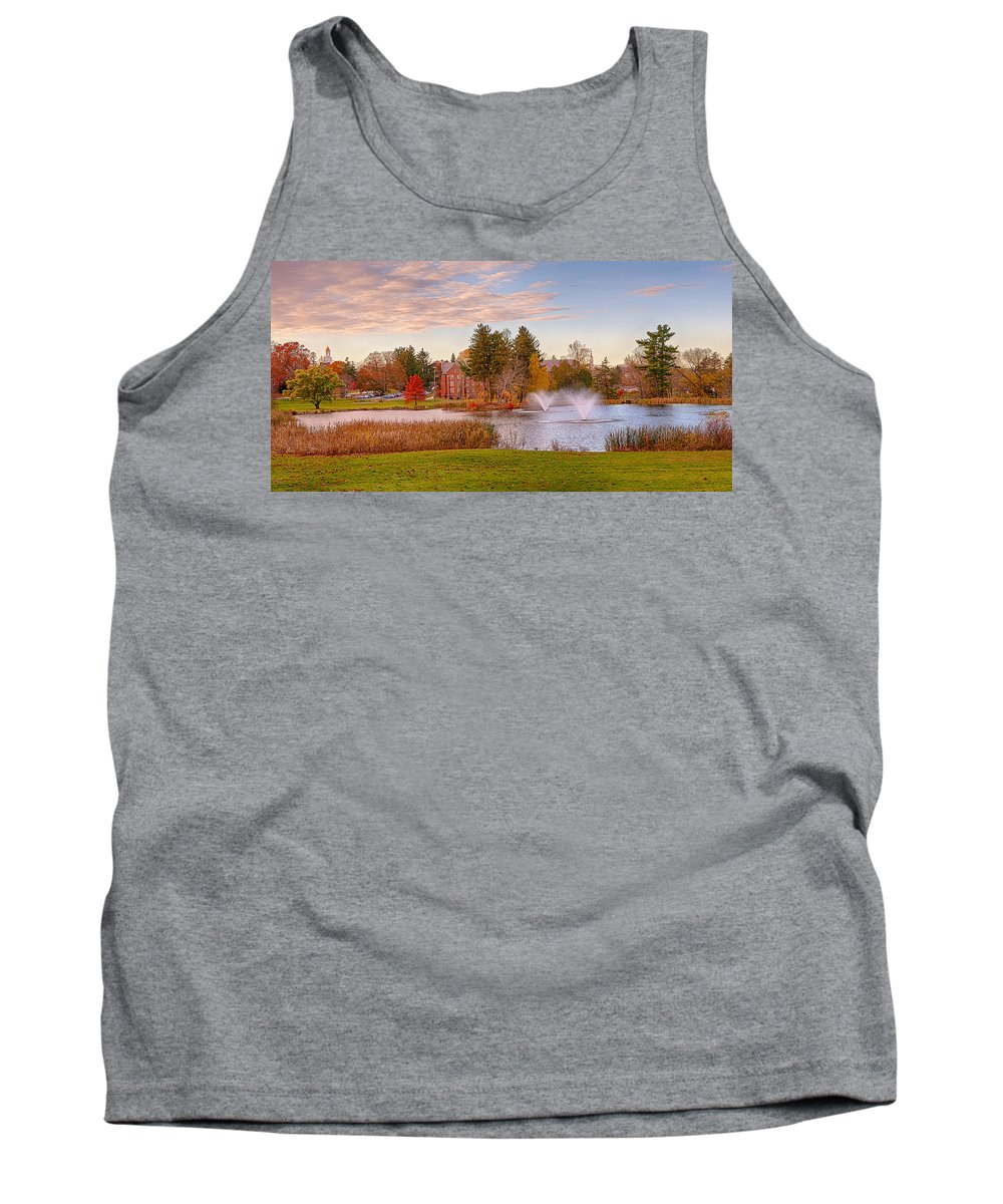 Uconn Tank Top featuring the photograph Mirror Lake Uconn Sunset by Steve Pfaffle